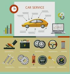 Flat car service infographic poster set vector
