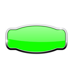 Green decorative button with chrome frame vector