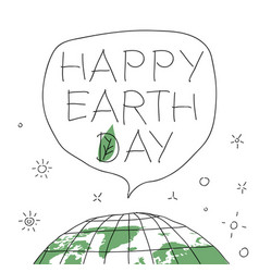 happy earth day in speech balloon with the words vector image vector image