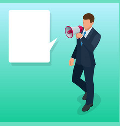 Isometric man with loudspeaker flat vector