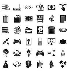 it management icons set simple style vector image