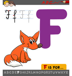 Letter f with cartoon fox vector