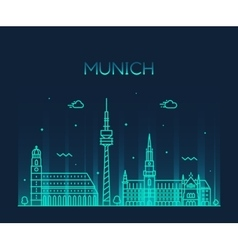 Munich skyline linear style vector image