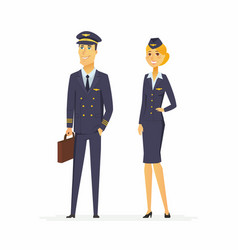 Pilot and flight attendant - cartoon people vector