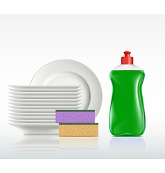plates and a bottle with detergent isolated on vector image