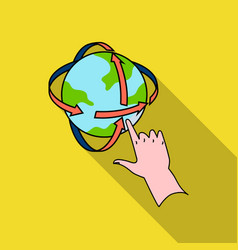Rotation of globe in virtual reality icon in flate vector