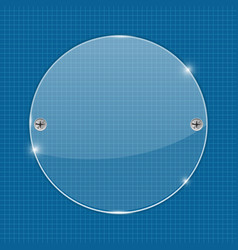 Round glass plate on blueprint background vector