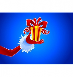Santa and gift vector image vector image