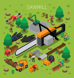 sawmill timber mill lumberjack isometric vector image