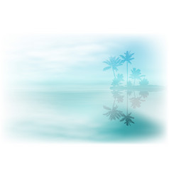 Sea with island and palm trees vector