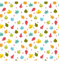 Seamless pattern with autumn leaves cute vector