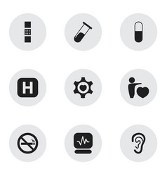 Set of 9 editable hospital icons includes symbols vector