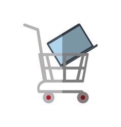 Shopping cart online laptop technology color vector