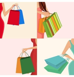 Shopping girl hand bag vector image vector image