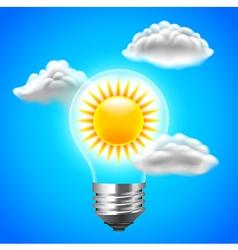 Sun inside light bulb energy concept blue sky vector