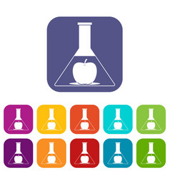 Test flask with apple icons set flat vector