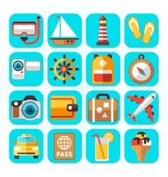 Travel tourism and vacation flat icons vector image