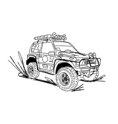 Tuned SUV car sketch for your design vector image vector image