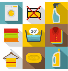 washing colorful clothes icons set flat style vector image vector image