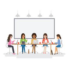Young businesswomen meeting vector