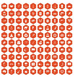 100 exotic animals icons hexagon orange vector
