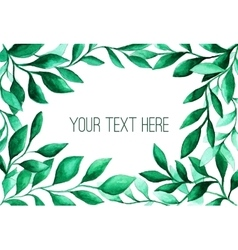 Watercolor green leaves frame for wedding and vector