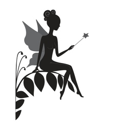 Silhouette of magic fairy vector