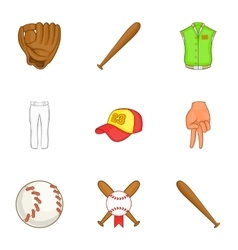 Championship with bat icons set cartoon style vector