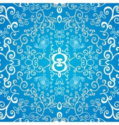 Blue symmetric floral ornament background vector image