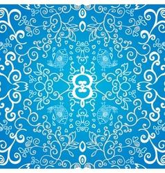 Blue symmetric floral ornament background vector image