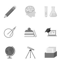 School set icons in monochrome style big vector