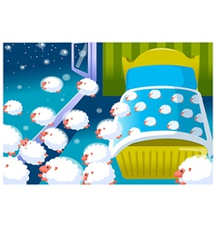 Baby crib and sheeps vector