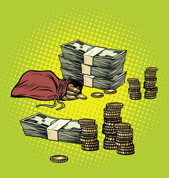 Stack of dollars and golden coins vector