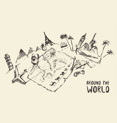 Traveling around the world hand drawn sketch vector