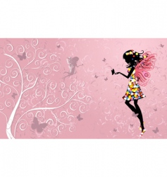 Flower fairy near patterned wood vector