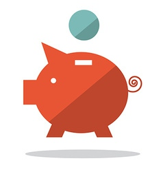 Flat Design Pig Bank with Coin vector image