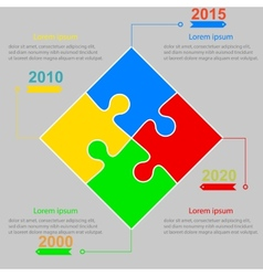 Infographics report templates in a square puzzle vector