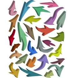 3d arrow icon silhouette color collection vector