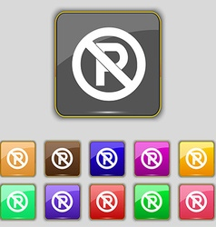 No parking icon sign set with eleven colored vector