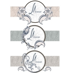 Set vintage ornamental ribbons menu vector