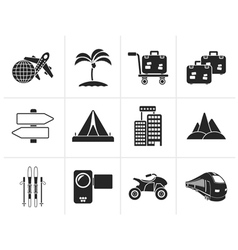 Silhouette Holiday travel and transportation icons vector image