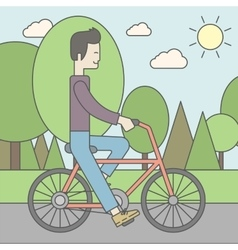 Asian man riding bicycle in park vector