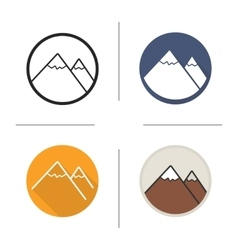 Mountain flat design linear and color icons set vector