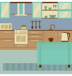Kitchen interior flat design with home furniture vector