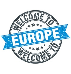 Welcome to europe blue round vintage stamp vector