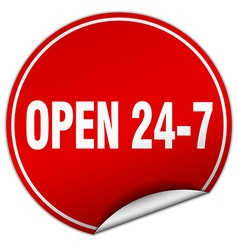 Open 24 7 round red sticker isolated on white vector