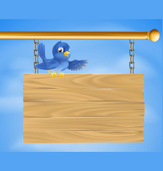 Blue bird on wooden sign vector