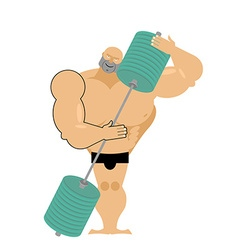 Bodybuilder loves a barbell Athlete hugs sports vector image vector image