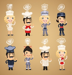 Chefs with simbols set vector