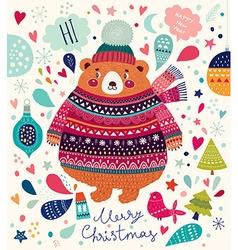 Christmas cute bear vector